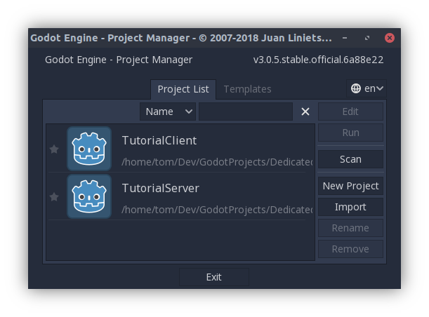 Godot's project list